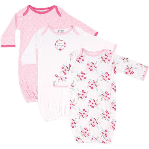 Baby Girl Gowns with Mitten Cuffs, 3-Pack