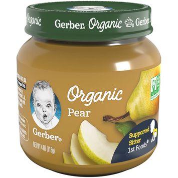 Gerber Organic 1st Foods Pear Baby Food, 4 oz Glass Jar