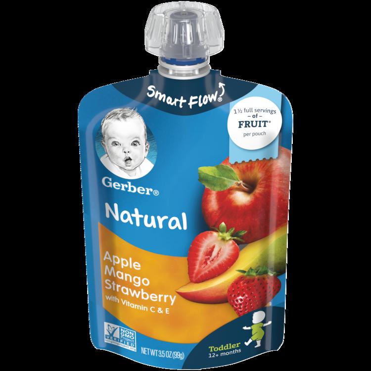 Gerber Natural Toddler Pouches Apple, Mango, Strawberry 3.5oz