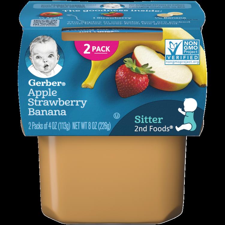 Gerber 2nd Foods Apple Strawberry Banana - 2x4 oz