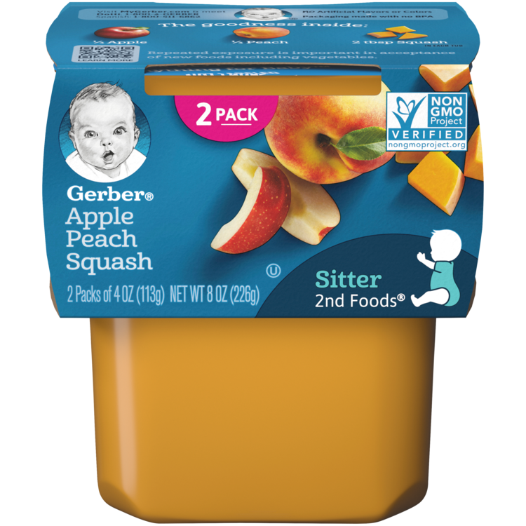 Gerber 2nd Foods Apple Peach Squash - 2x4oz