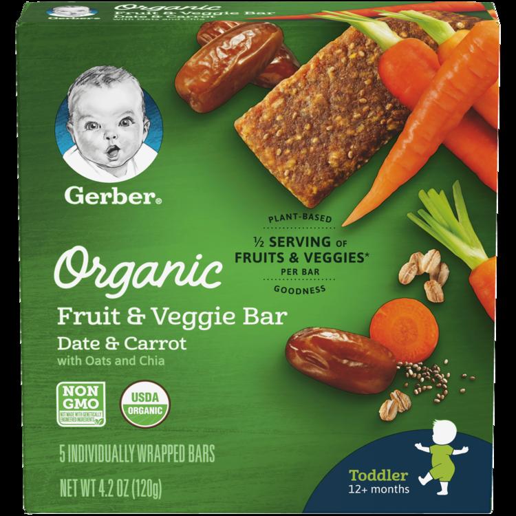 Gerber Organic Fruit & Veggie Bar, Date & Carrot, 0.84 oz Bars, 5 Count