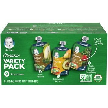 Gerber 2nd Foods® Organic Pouch Variety Pack #2, 9-Count, 3.5oz Pouches
