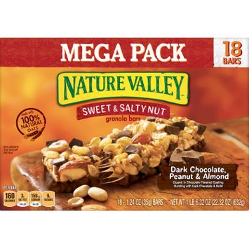 Nature Valley Sweet & Salty Nut Dark Chocolate Peanut & Almond Granola Bars 18 Count