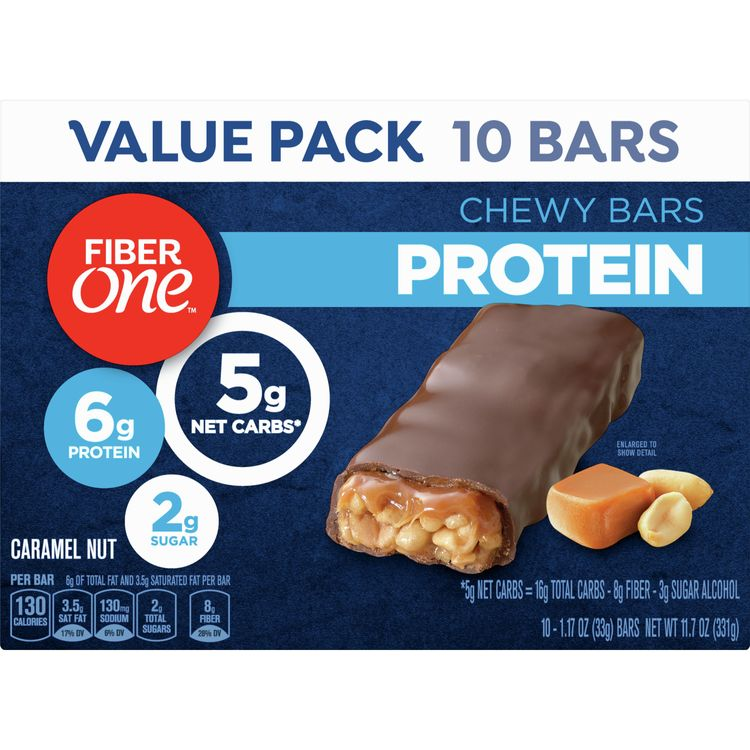 Fiber One Protein Bar, Caramel Nut Chewy Bars, 6g Protein, Snacks, 10 ct.