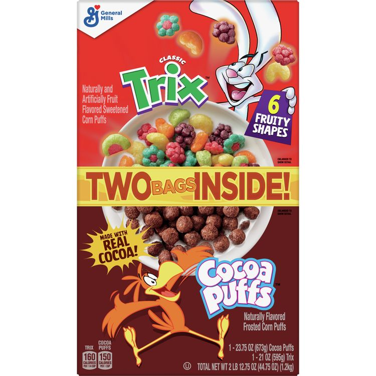 Trix and Cocoa Puffs Cereal, 44.75 oz