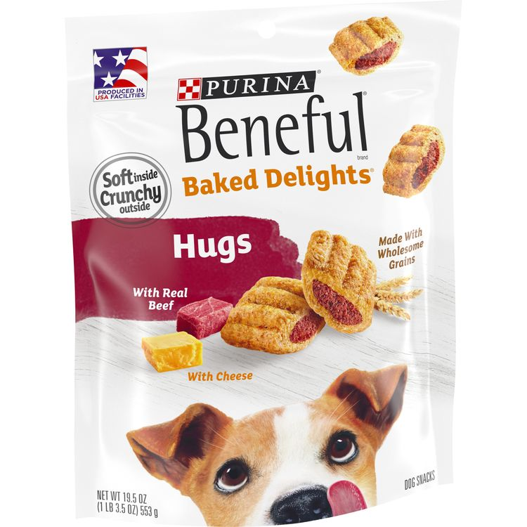 Purina Beneful Made in USA Facilities Dog Treats; Baked Delights Hugs With Real Beef & Cheese - 19.5 oz. Pouch