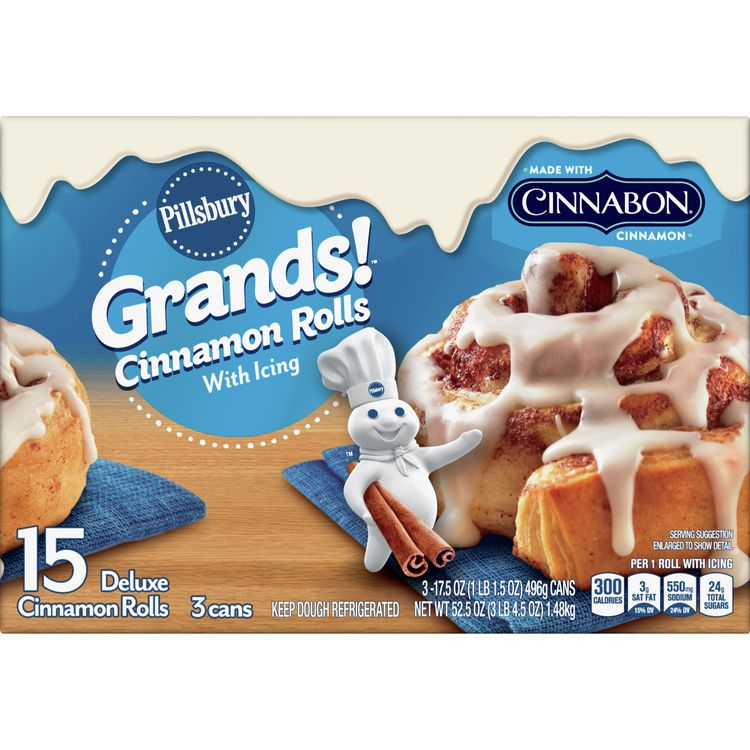 Pillsbury Grands! Cinnamon Rolls, 3 Cans, 15 Ct, 52.5 oz
