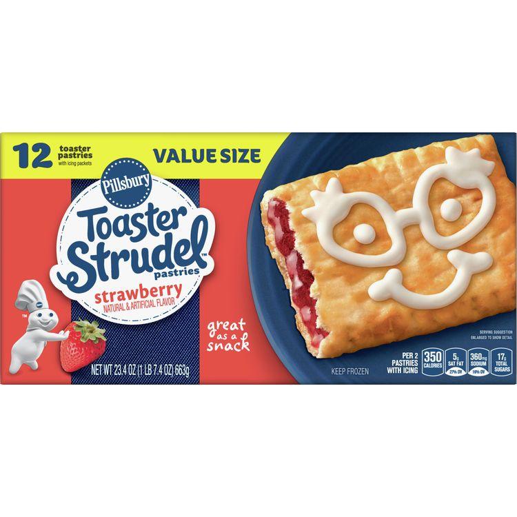 Pillsbury Toaster Strudel, Strawberry, 12 Frozen Pastries, 23 oz. Box