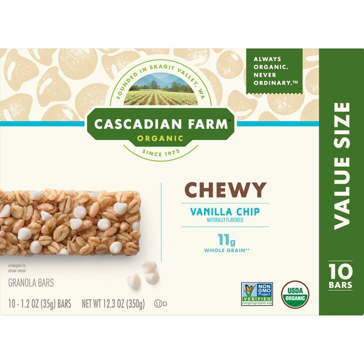 Cascadian Farm Organic Granola Bars, Vanilla Chip, 10 Bars, 12.3 oz