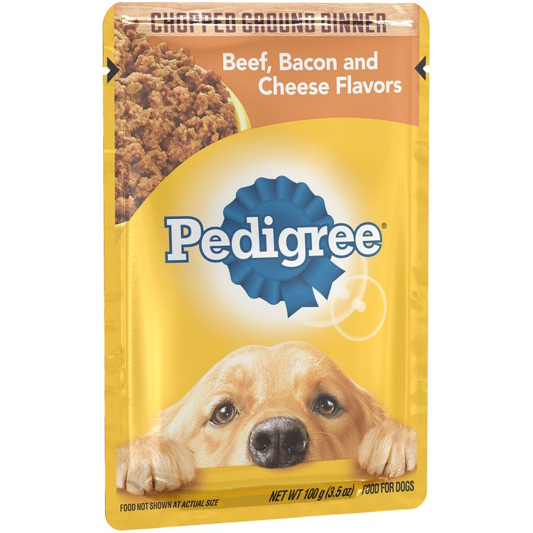 Pedigree® Chopped Ground Dinner Beef, Bacon And Cheese Flavors Wet Dog Food