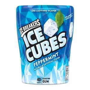ICE BREAKERS ICE CUBES Peppermint Gum, 40-Piece Bottle Packs