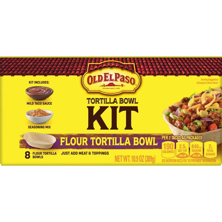 Old El Paso Taco Bowls Dinner Kit, Soft Tortilla, 10.9 oz Box