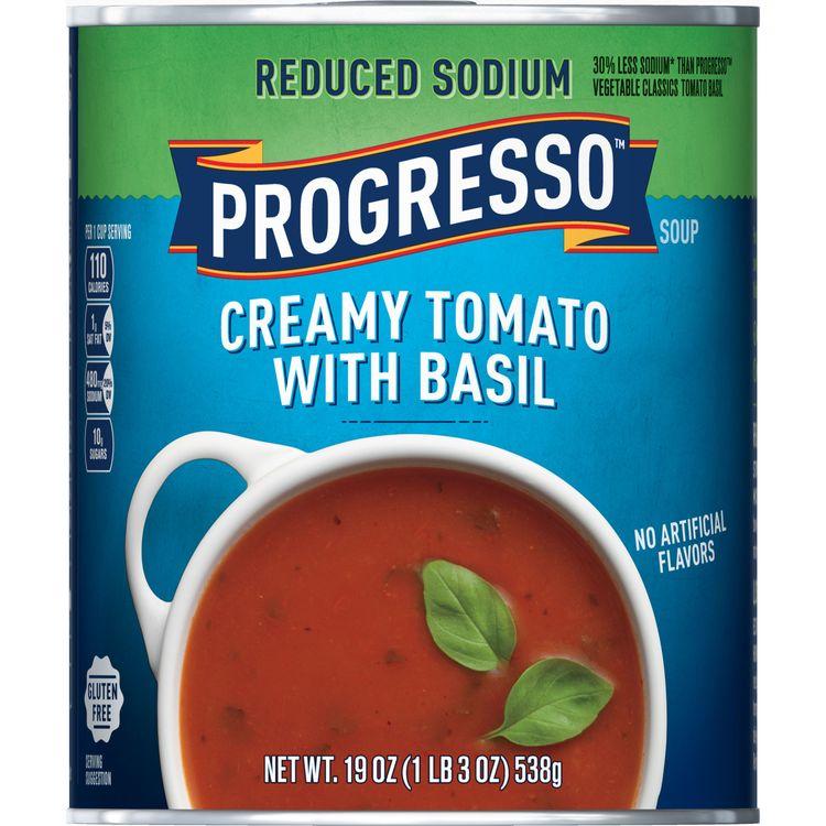 Progresso Soup, Reduced Sodium, Creamy Tomato Basil Soup, 19 oz Can
