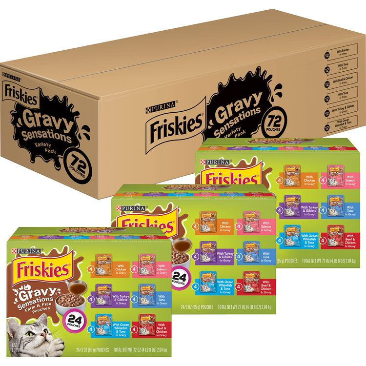 Purina Friskies Gravy Wet Cat Food Variety Pack, Gravy Sensations Farm & Fish Pouches