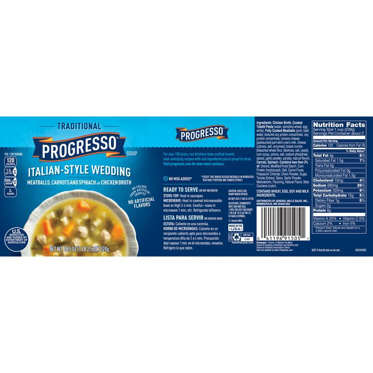 Progresso Soup Traditional Italian Style Wedding Soup 18 5 Oz Can Reviews 2021