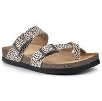 Mountain Sole Ladies Leather Sandal Dotted Leopard Print, Size8