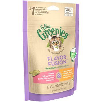 Feline Greenies™/MC Flavor Fusion™/MC Savory Salmon Flavor & Oven Roasted Chicken Flavor Cat Dental Treats