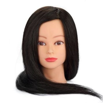Hairdressing 100% Black Professional Real Hair 22 Inch,CoastaCloud Training Mannequin Head Hairdresser Human Hair with Clamp