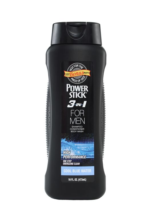 Power Stick Cool Blue Water 3-1 Body Wash Shampoo and Conditioner 16 oz.