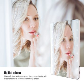 21 LED Touch Screen Makeup Mirror,Fashion USB Desktop Makeup Mirror Cosmetic Lamp Mirror + Mirror Cover,Gold rose