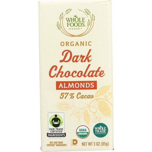 Whole Foods Market, Organic Dark Chocolate Bar with Almonds (57% Cacao), 3 oz