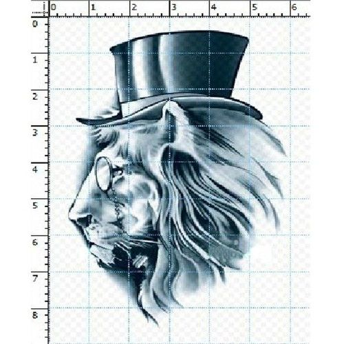 Panda Superstore PS-BEA6344642011-JESSICA00256 Cool Mr.Lion with Glasses & Hat Tattoos Fake Body Tattoo Stickers - Set of 4