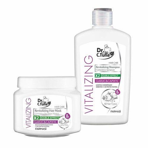 Farmasi Dr C Tuna Vitalizing Revitalizing Hair Mask and Shampoo Garlic&Capixyl [Set]