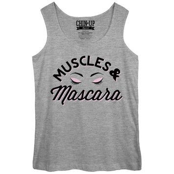 CHIN UP Muscles and Mascara Eyelashes Womens Graphic Tank Top - Fifth Sun