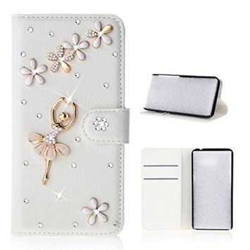 Samsung Galaxy A6 Plus 2018 Case, Scheam Leather Case 3D Diamond Bling Shining Case Wallet Case Credit Card Slot Kicktand Flip Cover Shockproof Protective Case for Galaxy A6 Plus 2018 (Dancing Girl)