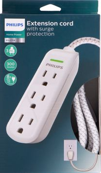 Philips 3-Outlet 8ft. Extension Cord, Surge Protection, SPC3434WB/37