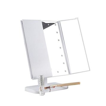 Pevor Three Folding Led Makeup Mirror with Magnification Table Mirror with Lights Cosmetic Mirror Adjustable Tabletop Countertop Light Mirror for Makeup