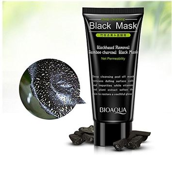 BIOAQUA Blackhead Remover Mask Bamboo Charcoal Peel Off Mask Deep Pore Cleansing for Face Nose Acne Treatment Oil Control Black Mask Purifying 2.11 ounce