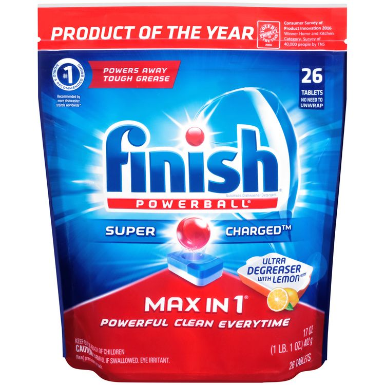 Finish® Powerball® Max in 1® Super Charged™ Ultra Degreaser with Lemon Scent Automatic Dishwasher Detergent Tablets 26 ct Bag
