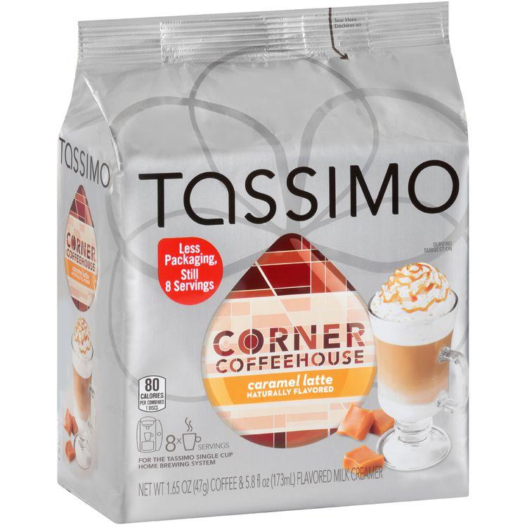 Tassimo Corner Coffee House Caramel Latte Coffee & Milk Creamer T Discs 8 ct Bag
