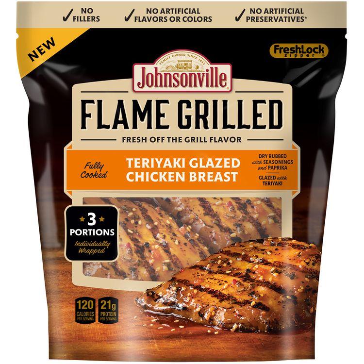 Johnsonville Flame Grilled Teriyaki Glazed Chicken Breast 9oz zip pkg