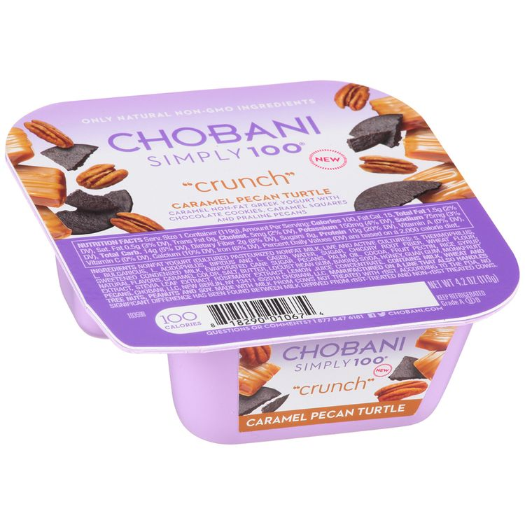 "Chobani Simply 100® ""Crunch"" Caramel Pecan Turtle Non-Fat Greek Yogurt"