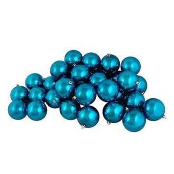 12ct Shiny Turquoise Blue Shatterproof Christmas Ball Ornaments 4