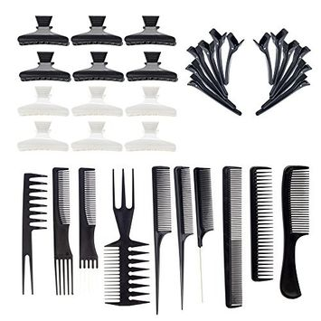 Hairdressers Set with 10 Hair Styling Combs, 12 Black Clasps and 12 Black and White Butterfly Clamps Grips