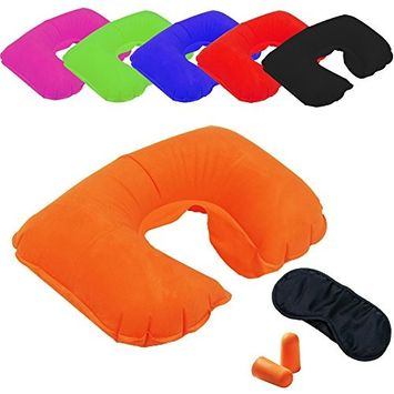 INFLATABLE TRAVEL PILLOW HEAD NECK REST SOFT CUSHION CAMPING w/ EAR PLUG WITH FREE EYEMASK NECK SUPPORT