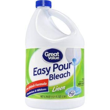 Great Value Easy Pour Bleach, Linen Scent, 121 fl oz
