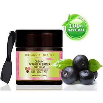 ORGANIC ACAI BERRY BUTTER BRAZILIAN 100 % Natural / 100% PURE BOTANICALS. VIRGIN / UNREFINED BLEND. 0.5 Fl.oz.- 15 ml. For Skin, Hair and Nail Care.