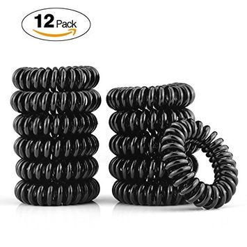 12 Piece Hair Coil Set, Painless Hair Ties. Ponytail holder spiral coil no traceless rubber bands. Best kids girls woman accessory all types of hair. Exercise, workouts & everyday.