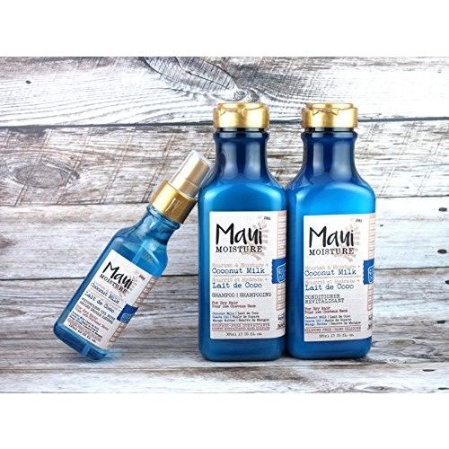 (LIMITED HOLIDAY VALUE SET) MAUI MOISTURE Nourish & Moisture + Coconut Milk Shampoo (13oz) + Conditioner (13oz) + Oil Mist (4oz) : Beauty