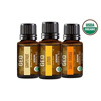 Organic Citrus Essential Oil Set | Only $20 with $18 Coupon | Grapefruit, Lemon, Sweet Orange Organic Essential Oils | 15 ml Bottles | USDA Organic. Certified by CCOF | Sold by GEO Oils