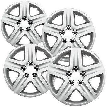 Istiloshoppe Car Accessories 4 Pc MONTE CARLO Steel Wheel Snap On SILVER 17' Hub Caps 5 Spoke Fit Skin Covers
