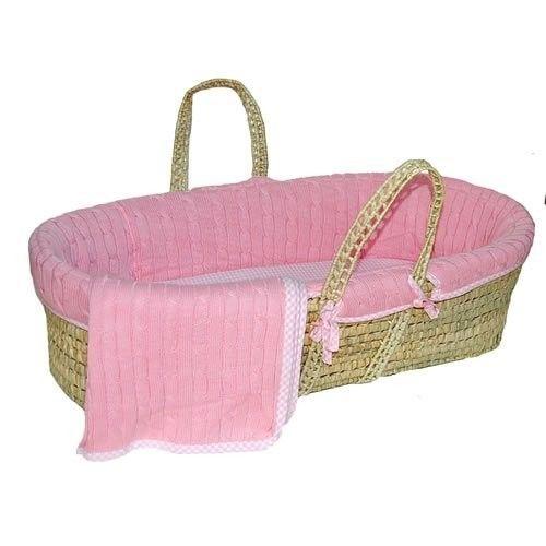 Tadpoles 5 Pc. Cable Knit Moses Basket Set- Pink