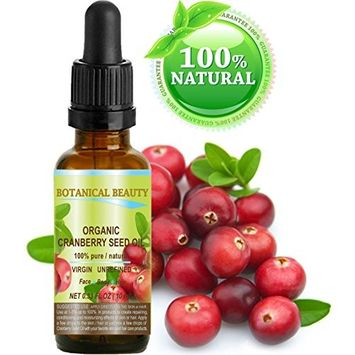 CRANBERRY SEED OIL ORGANIC 100% Pure / Natural / Undiluted/ Virgin. Cold Pressed / Undiluted Carrier Oil. For Face, Hair and Body. 0.33 fl.oz -10 ml.