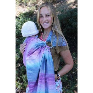 Baby Tula 100% Cotton Ring Sling Baby Carrier, Ergonomic, Adjustable, Front and Hip Carry for 8 – 35 pounds – Petit Love Danube (Blue and White Hearts), S/M
