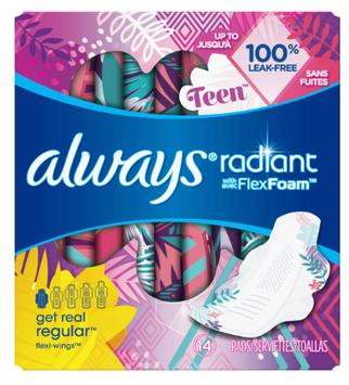 Always Radiant Teen Pads Get Real Regular, Unscented